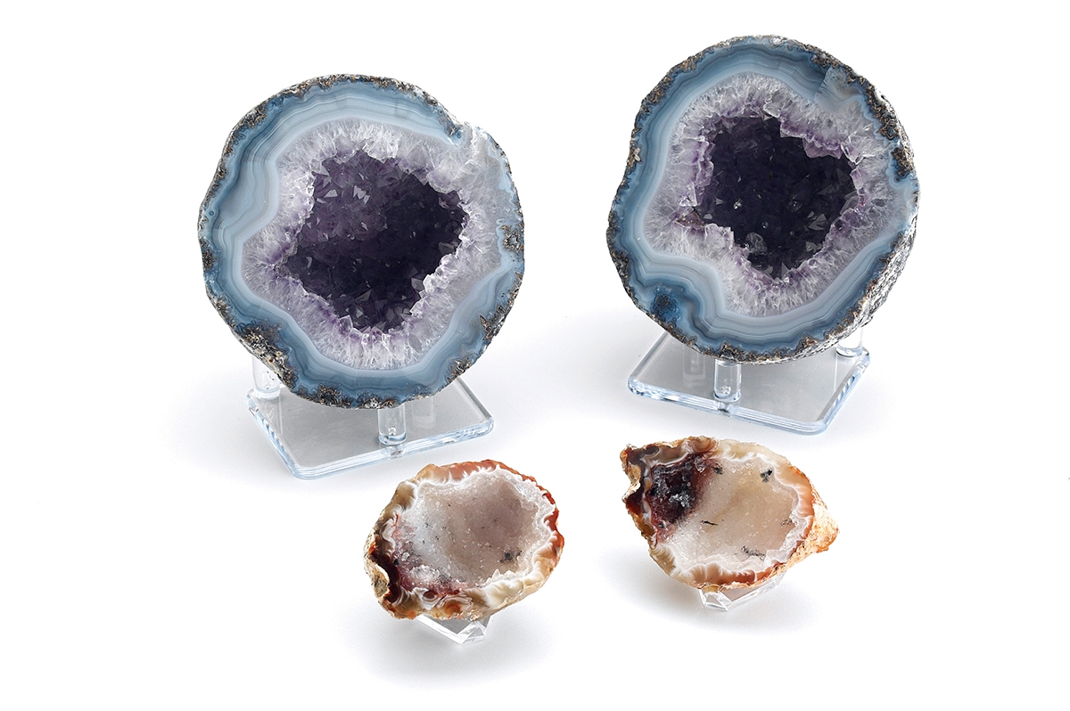 <b></b> A geode is an unusual, rounded mineral formation typically with an exterior shell of chalcedony (fine-grained quartz) and interior chamber lined with crystals. (Photo courtesy of The Shops at Nature's Art Village)