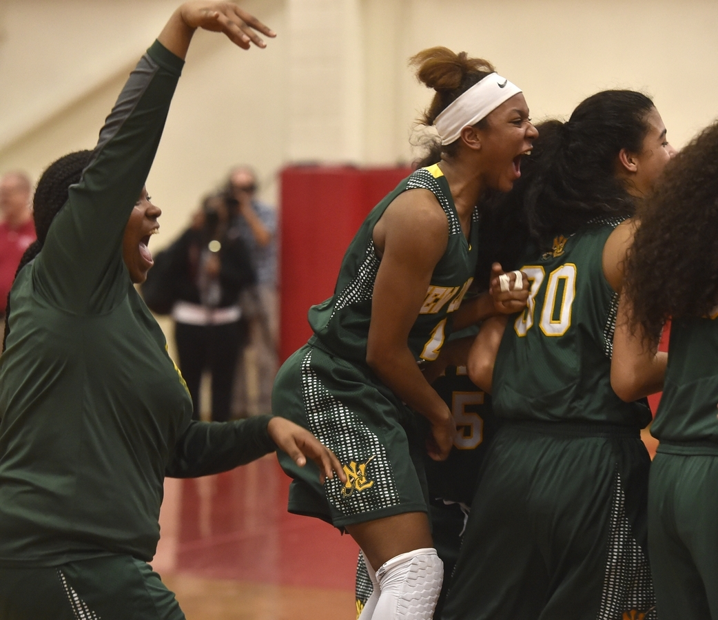 <b></b> New London&#x2019;s Rosalee Nicholson jumps on the back on teammate Taina Pagan (30) as the Whalers celebrate their 53-39 victory over Norwich Free Academy in Wednesday night&#x2019;s ECC Division I girls&#x2019; basketball tournament championship game at NFA. (Tim Martin/The Day
