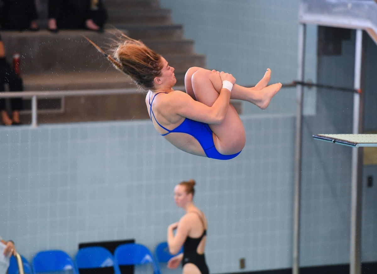 <b></b> Central Connecticut's Annmarie Durham competes in the 3-meter diving competition during last week's Northeast Conference diving championships  at MIT in Cambridge, Mass. Durham, a junior from East Lyme, won both the 1- and 3-meter events and is the school-record holder in both. (Photo courtesy of Steve McLaughlin/CCSU)