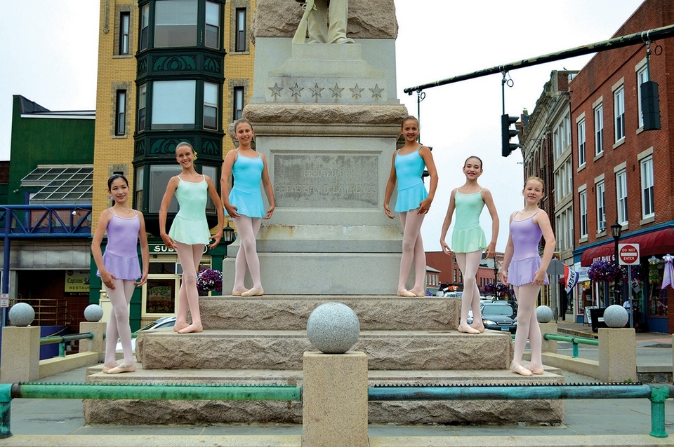 Dancers pose near the Soliders and Sailors Monument in downtown New London. (Mariah Gravelin photo)