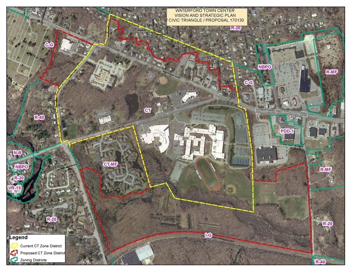 <b></b> The proposed changes to the zoning rules in Waterford's Civic Triangle area would expand the zoning district to the south and in the northwest corner but avoid residential areas. (Courtesy Waterford Planning Department)