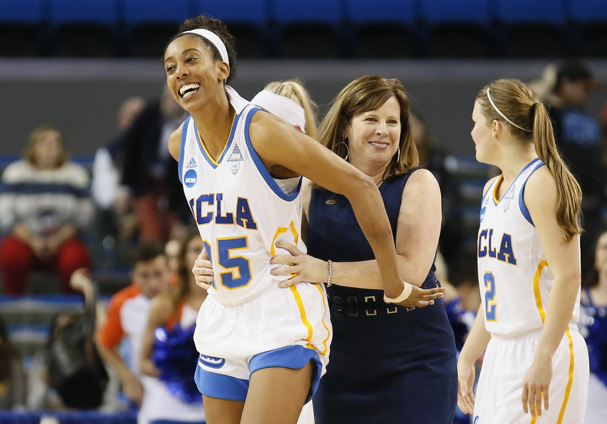<b></b> UCLA forward Monique Billings, left, and coach Cori Close smile after UCLA defeated Boise State in an NCAA tournament game on March 18 at Los Angeles. (AP Photo/Danny Moloshok)