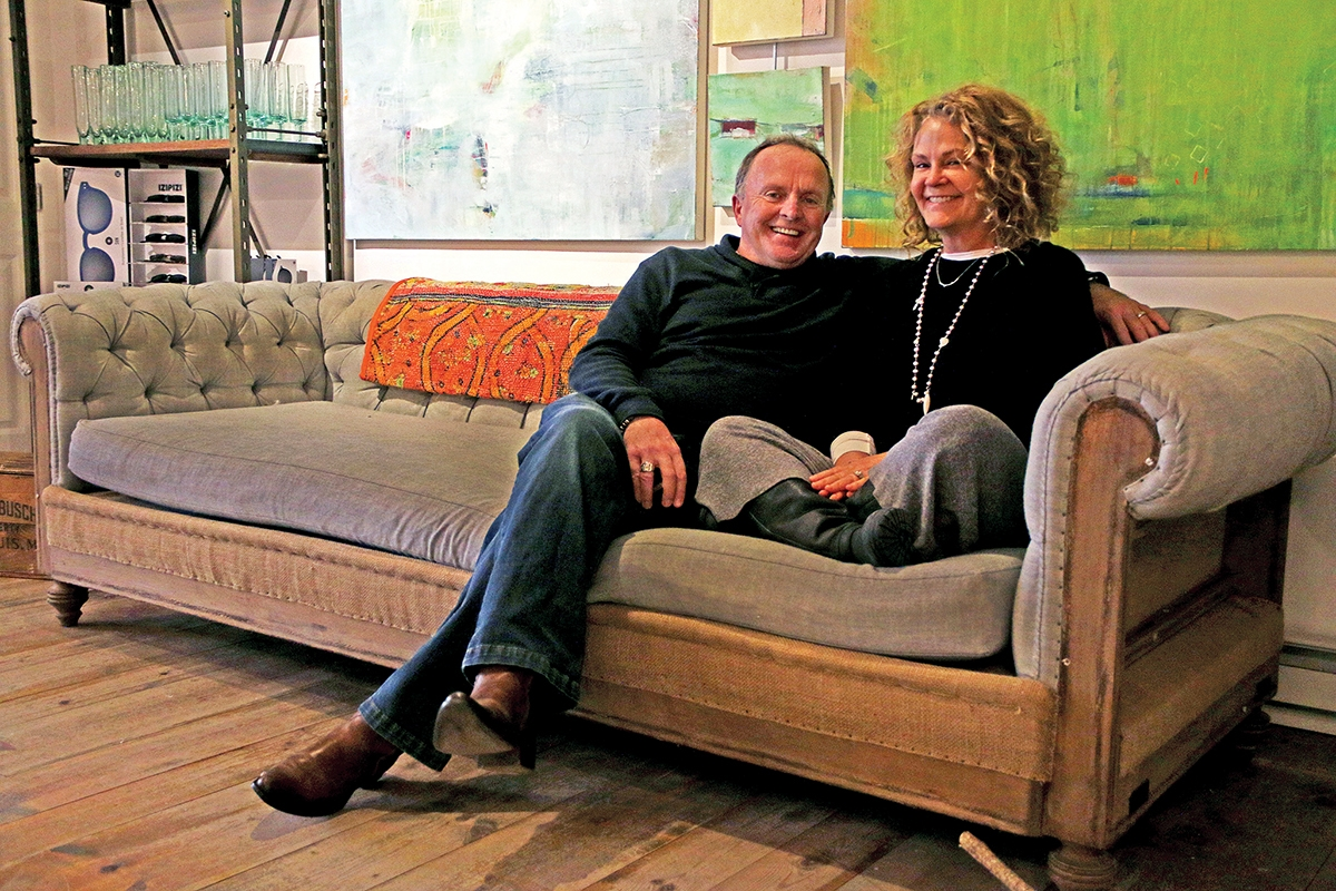 Peter Duggan and Pamela Stone-Duggan, co-owners of Curated gallery in Mystic. (Photo by Harold Hanka)