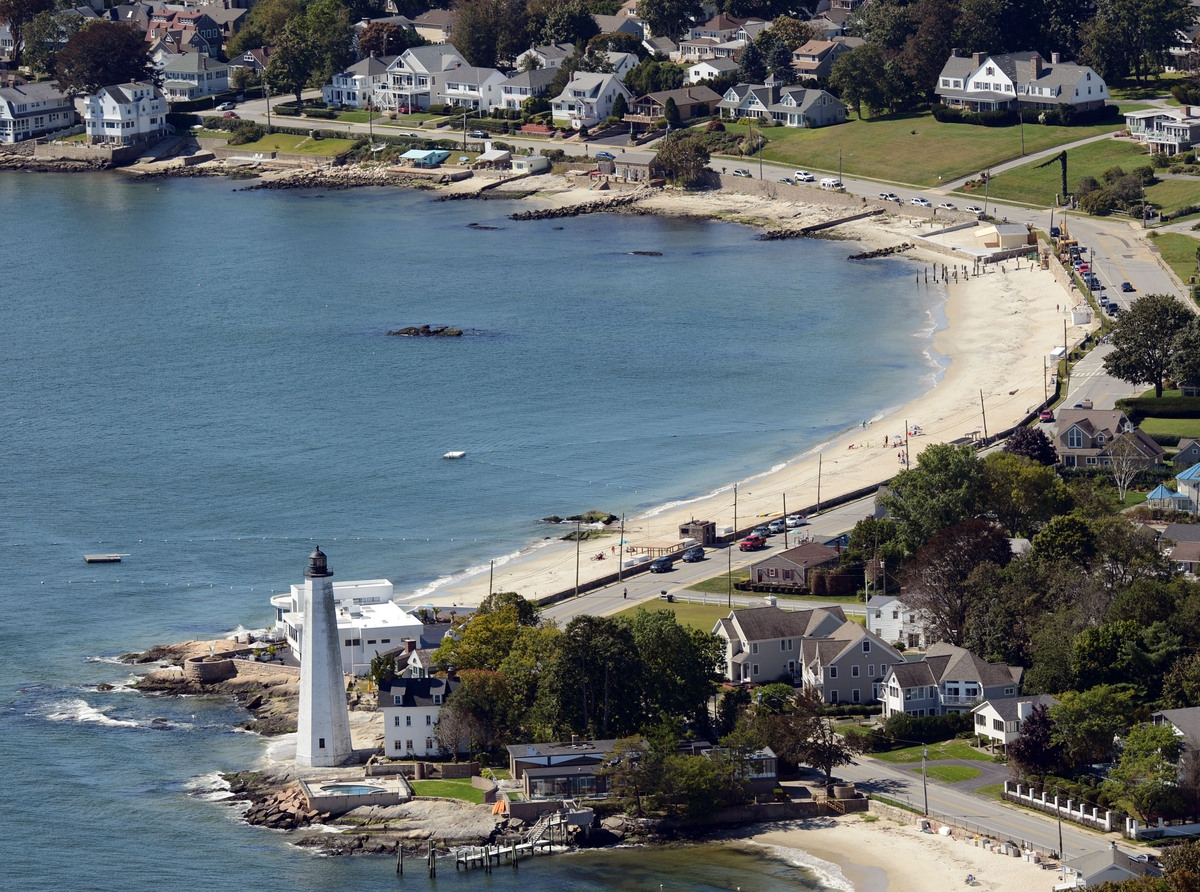 <b></b> New London Harbor Light is seen from the air Sept. 14, 2013.  (Sean D. Elliot/The Day)