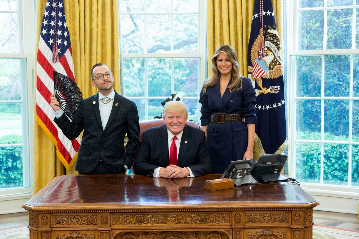 <b></b> Nikos Giannopoulos poses with President Donald Trump and first lady Melania Trump in the Oval Office in April. (White House photo by Shealah Craighead)