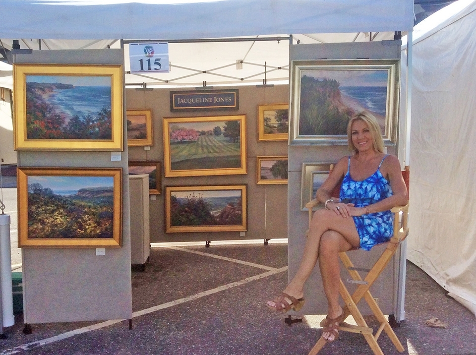Jacqueline Jones displays her work at the Westport art show. (Submitted photo)