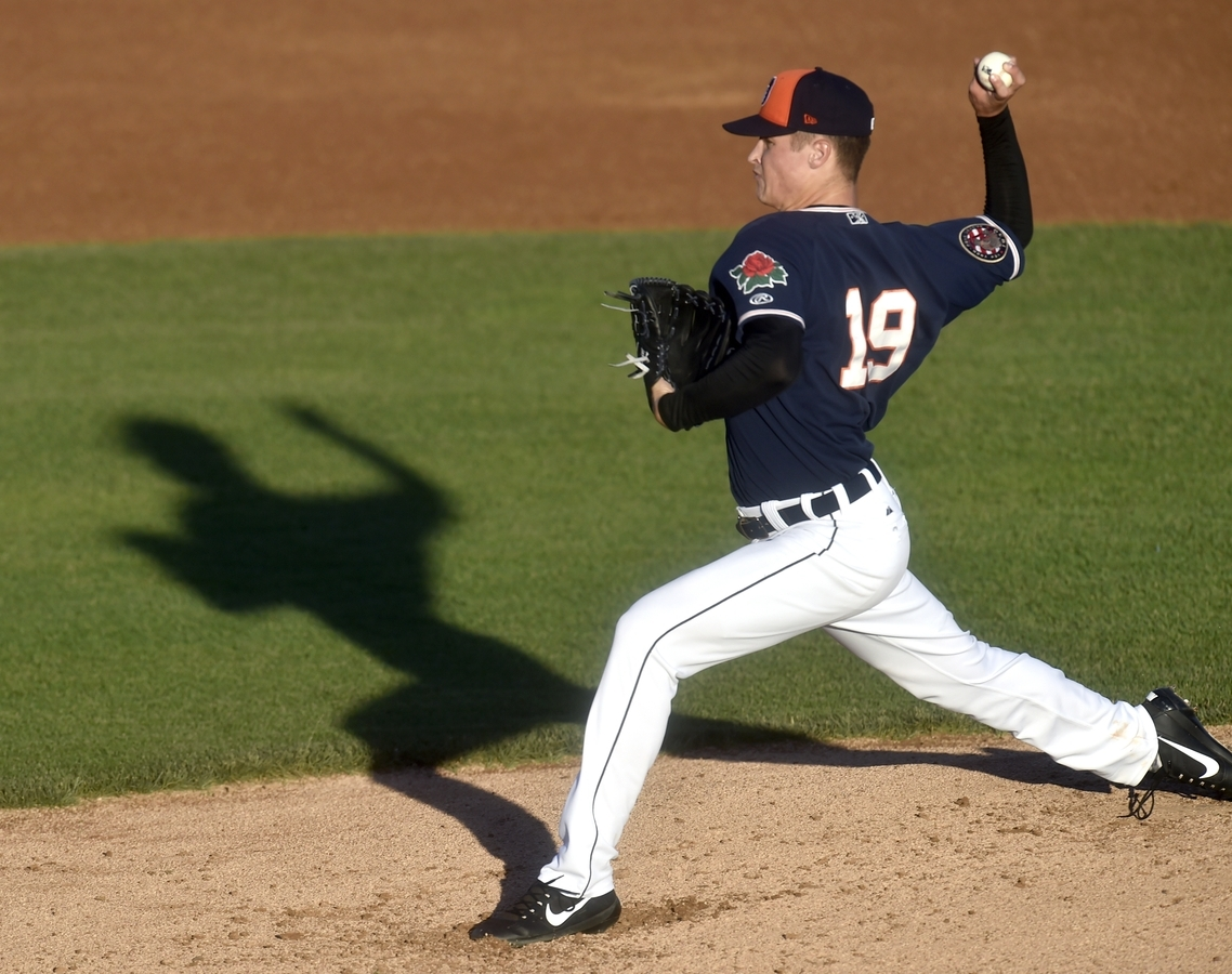 <b></b> Matt Manning of  Connecticut , the top prospect of the Detroit Tigers, delivers a pitch Tuesday night against Tri-City in the season opener at Dodd Stadium. Manning pitched 4.1 scoreless innings, striking out nine. (Tim Martin/The Day)