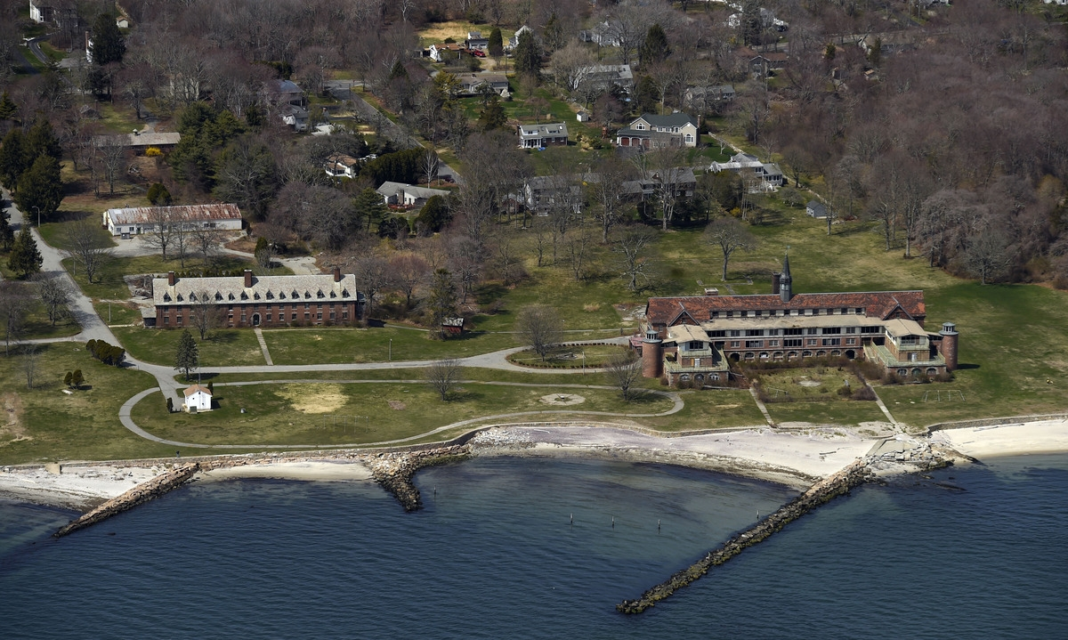 <b></b> The proposed Seaside State Park property in Waterford is seen from the air April 25, 2014.  (Sean D. Elliot/The Day)
