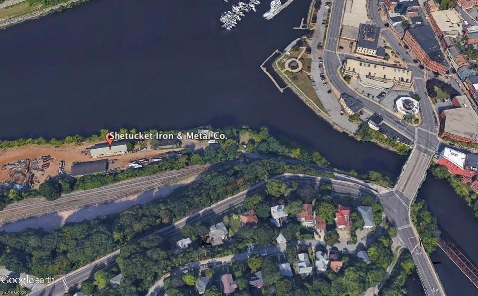 <b></b> A view of the Shetucket Iron & Metal property as seen from satellite. (Google Earth)