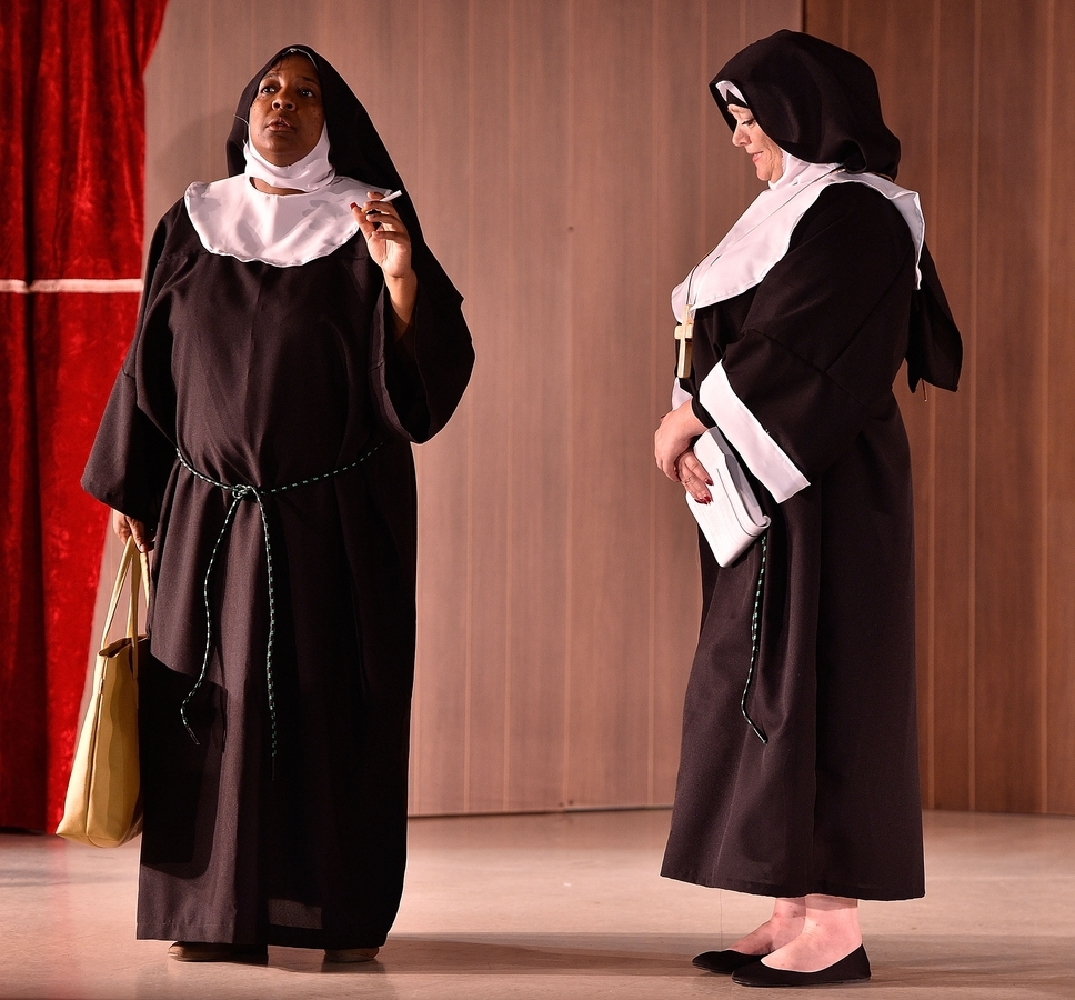 <b></b> Nichelle Rollins, left, as Deloris, and Erin Machnik, as Mother Superior, star the Groton Regional Theatre's