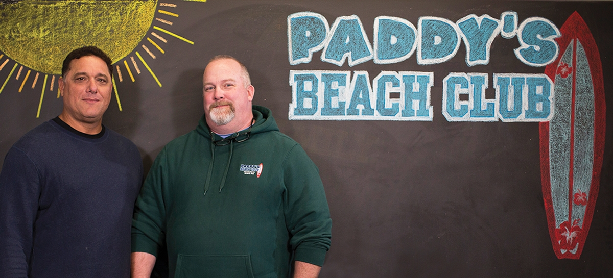 <b></b> Frank Labriola, left, and Paul Doyle are the co-owners of the popular Paddy's Beach Club in Misquamicut, R.I.