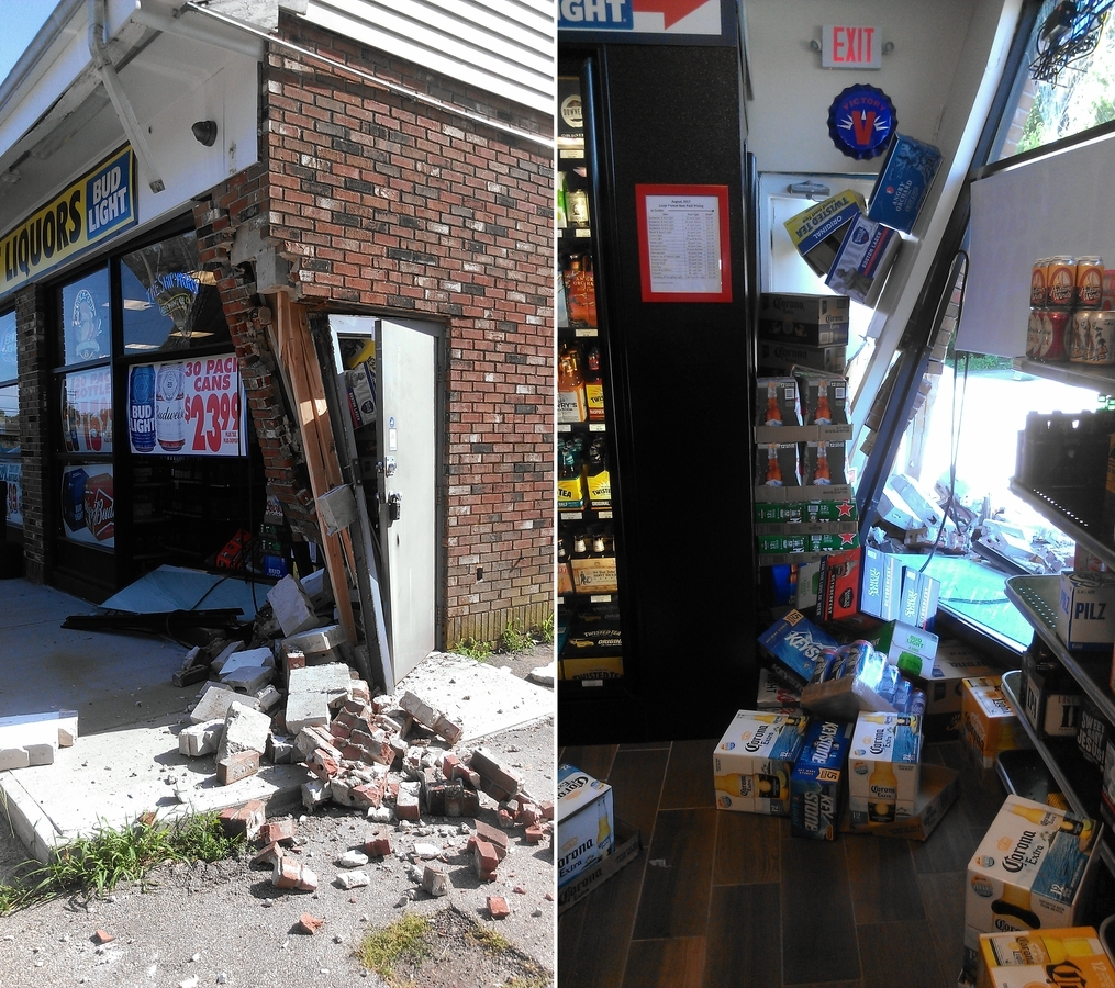 <b></b> Damage sustained to Stateline Discount Liquors in North Stonington is seen in this composite image after a vehicle crashed into the building early Saturday evening, Aug. 19, 2017. (Photos courtesy of store manager Brett Marggraff)