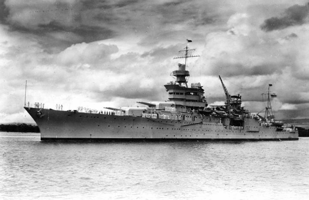<b></b> The USS Indianapolis is shown at Pearl Harbor, Hawaii, circa 1937.  On July 30, 1945, the Japanese I-58 submarine torpedoed the Indianapolis, tearing the ship nearly in two, destroying much of the bow and igniting a firestorm below decks. Within 12 minutes, the vessel was gone and 300 crewmen were dead.  (AP Photo/Naval Historical Center)