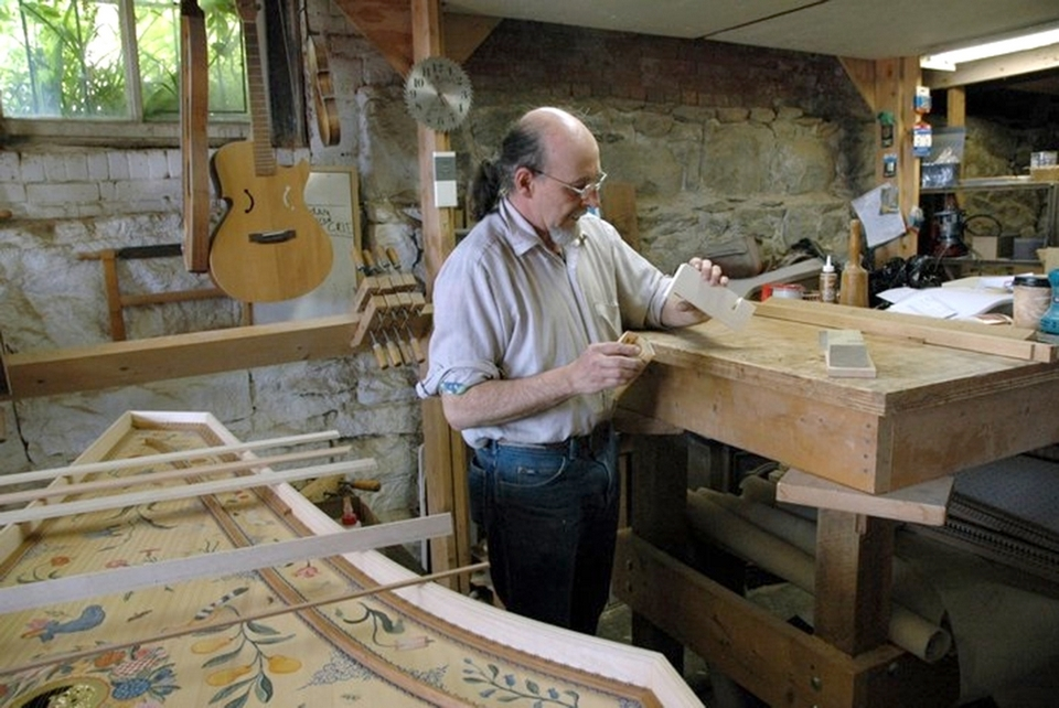 Jake Kaeser crafts completely new instruments for each order he receives at his New London, Connecticut shop.