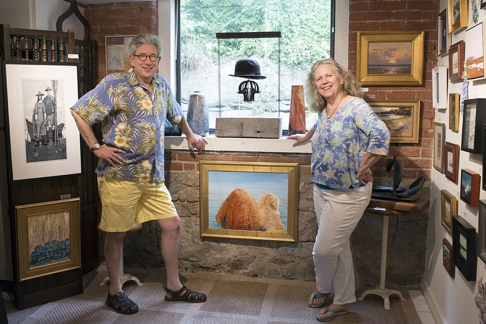 Owners of Courtyard Gallery, Del-Bourree and Kristen Bach, are longtime advocates for various local causes. (Peter M. Weber photo)