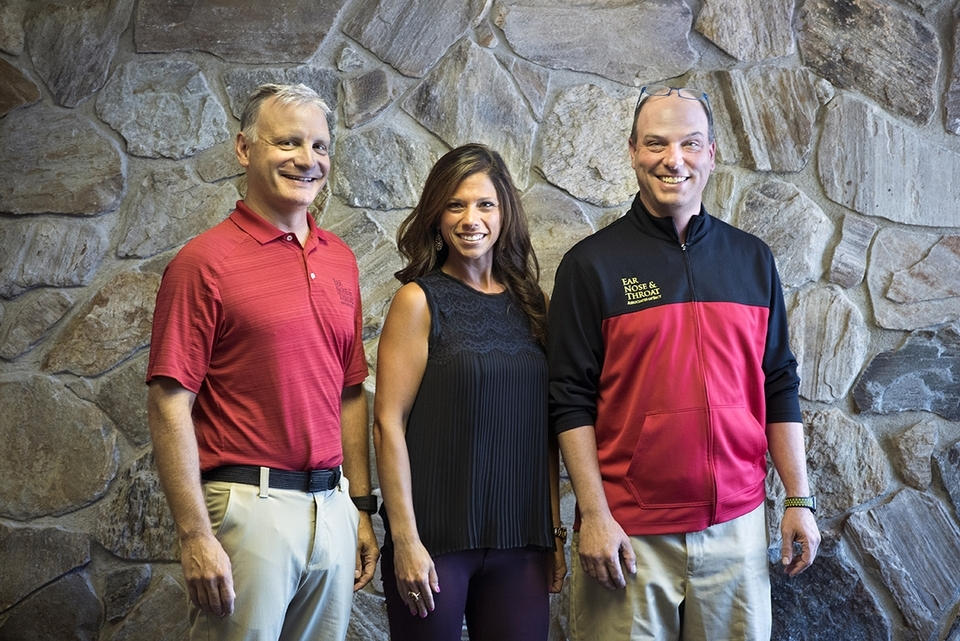 From left, Drs. David Boisoneau, Bethany Bonnano, and Frank Dellacono work at the Waterford office of Ear, Nose & Throat Associates of Southeastern Connecticut.