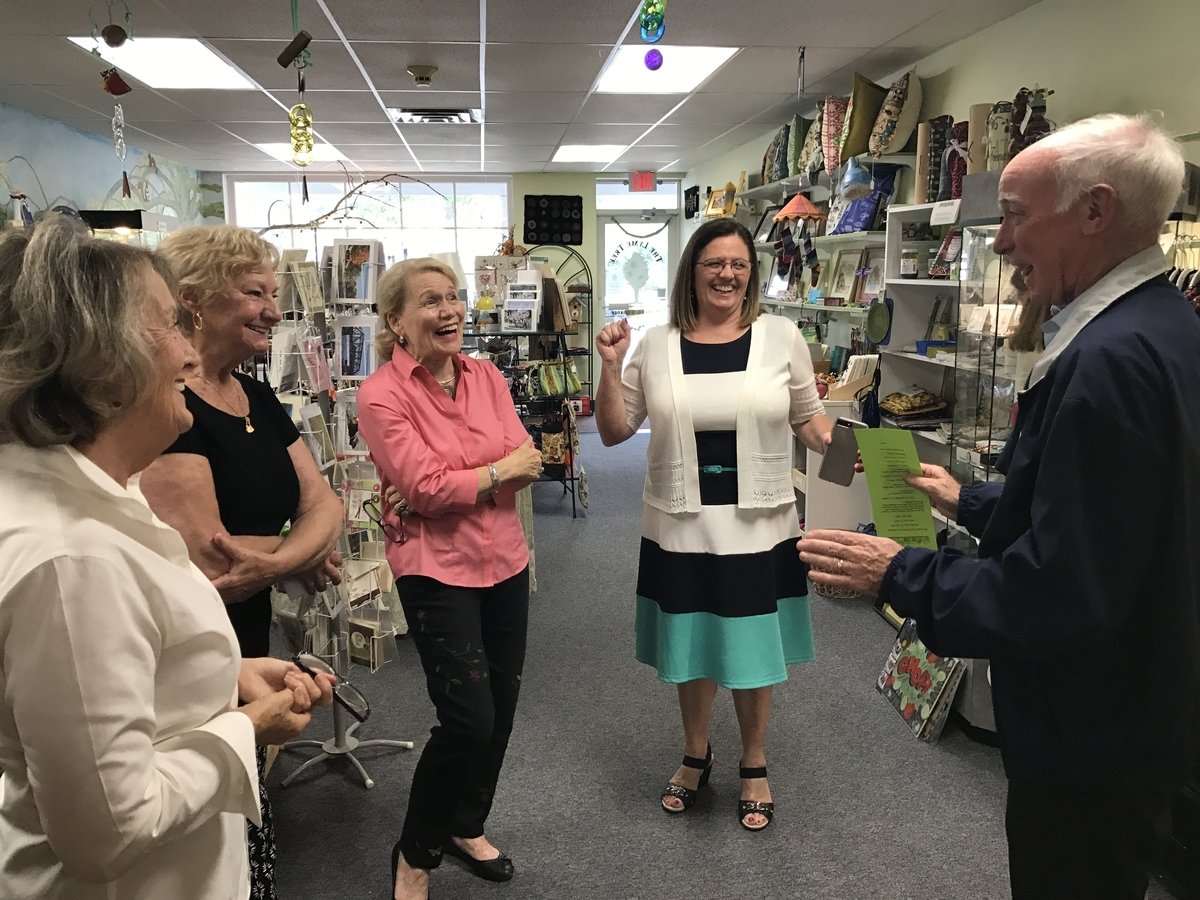 <b></b> U.S. Rep. Joe Courtney jokes with, from left, Dorothy Farbrother, Mary Houlihan and Judy White, all of the The Lyme Tree Woman's Exchange, and Old Lyme First Selectwoman Bonnie Reemsnyder, at the exchange on Friday, Sept. 22, 2017. Courtney visited the town after the Federal Railroad Administration removed from its plan a proposed bypass through the town's center. (Kimberly Drelich/The Day)