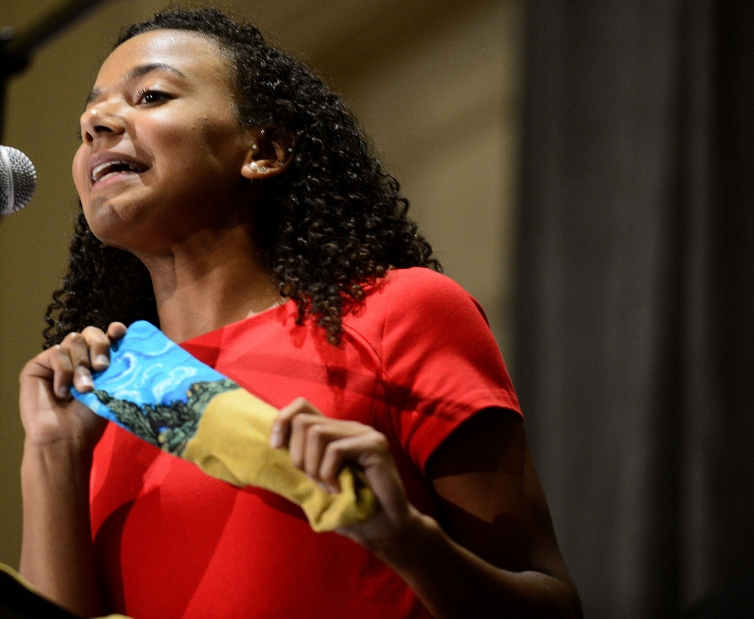 <b></b> Fitch High School senior and Dr. Martin Luther King Trust Fund scholar Lily Johnson talks about the importance of having the courage to wear bold socks during 36th Annual Dr. Martin Luther King, Jr. Scholarship Dinner on Thursday, October 19, 2017 at at the Mystic Marriott in Groton. (Sarah Gordon/The Day)