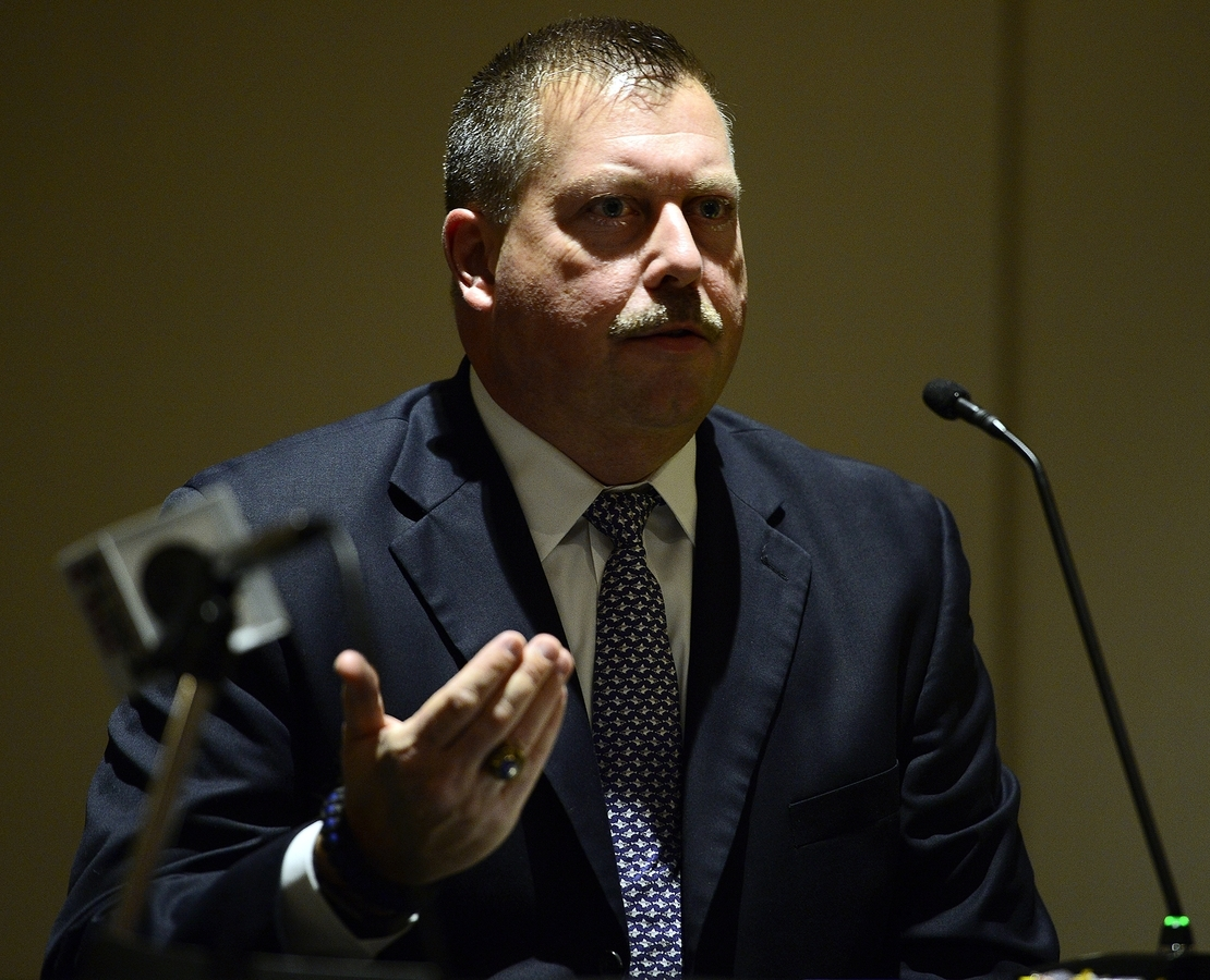 <b></b> New London police chief candidate Peter Reichard answers a question during a public interview on Nov. 9, 2017, at Science and Technology Magnet High School in New London. City officials announced Friday, Nov. 17, 2017, that Reichard has been selected for the job. (Sarah Gordon/The Day)