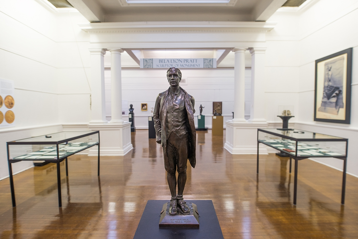 Sculptor Bela Lyon Pratt's rendering of Revolutionary War Hero Nathan Hale is well known to many Connecticut residents and can be seen outdoors in New Haven and New London. In it, Hale appears resigned, brave and resolute. (Seth Jacobson photo)