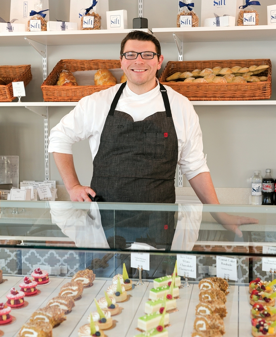 Adam Young in Sift, his Mystic bakery.