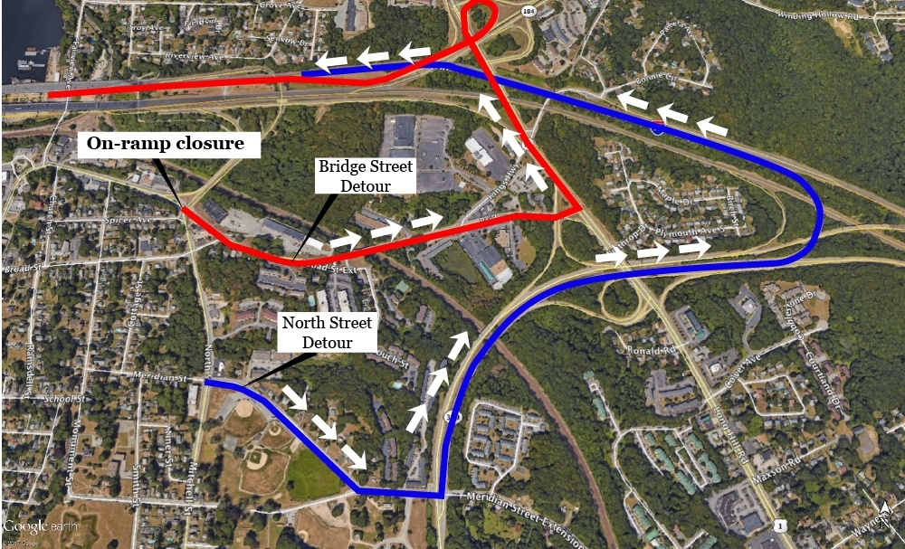 <b></b> This illustration shows the two suggested alternate routes motorists can take after the Bridge Street on-ramp to Interstate 95 south is shut down Saturday, Dec. 23, 2017. (Carlos Virgen/The Day)