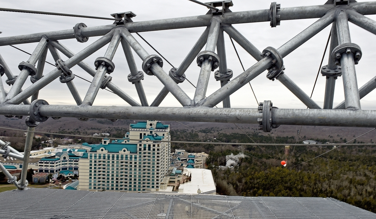 <b></b> View of the new zip line at Foxwoods Resort Casino from atop the launch platform on Fox Tower Friday, Dec. 22, 2017. The HighFlyer Zipline is expected to open in the spring of 2018,  sending riders downward from the roof of the Fox Tower hotel at speeds approaching 60 mph.  (Sean D. Elliot/The Day)