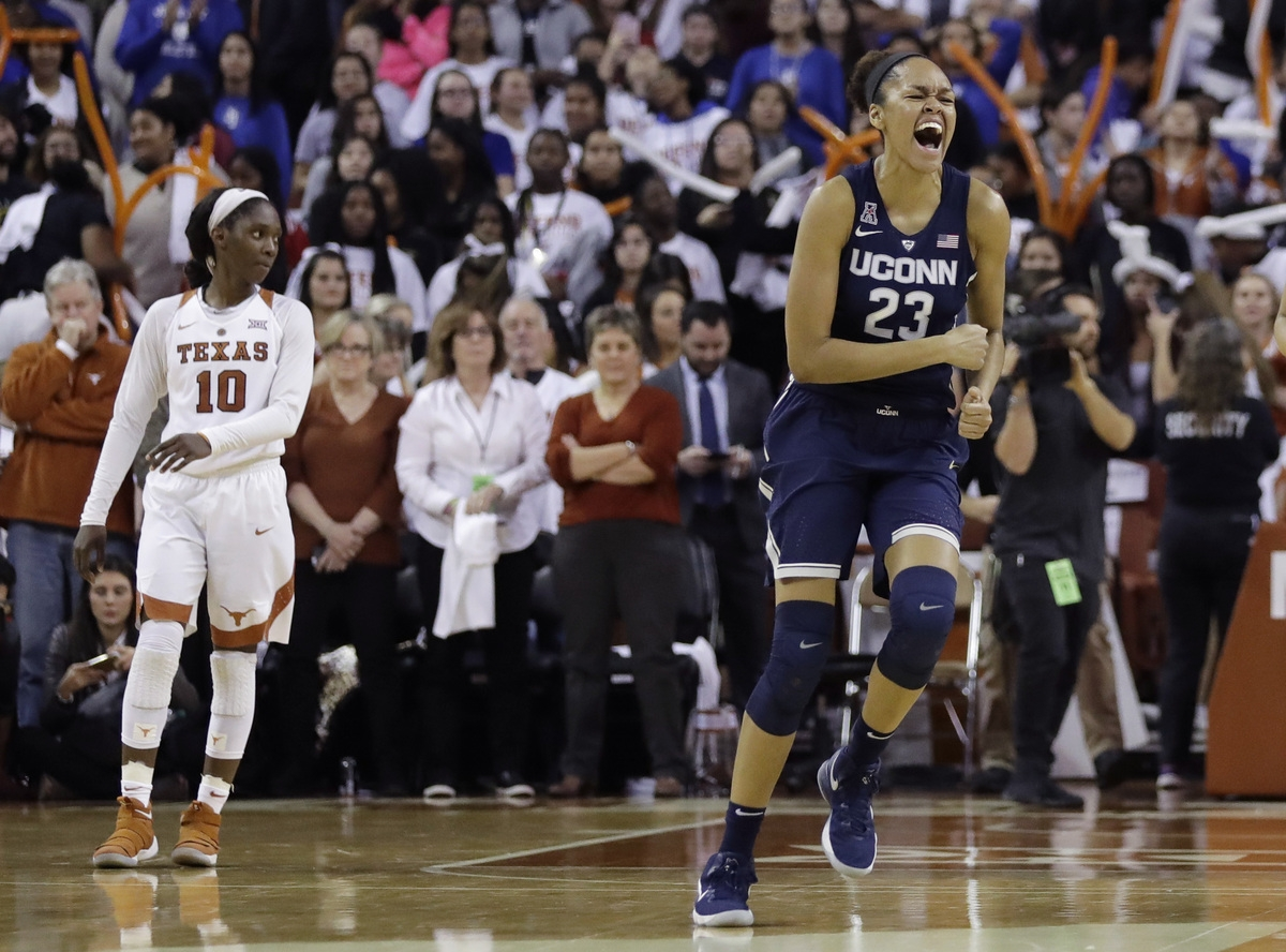 <b></b> UConne's forward Azura Stevens (23) celebrates after the top-ranked Huskies outlasted No. 8 Texas 75-75 on Monday night in in Austin, Texas. (AP Photo/Eric Gay)