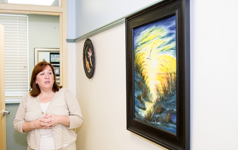 The artwork outside APRN Kim Milaney's walls was all gifted by a client. (Renee Trafford photo)