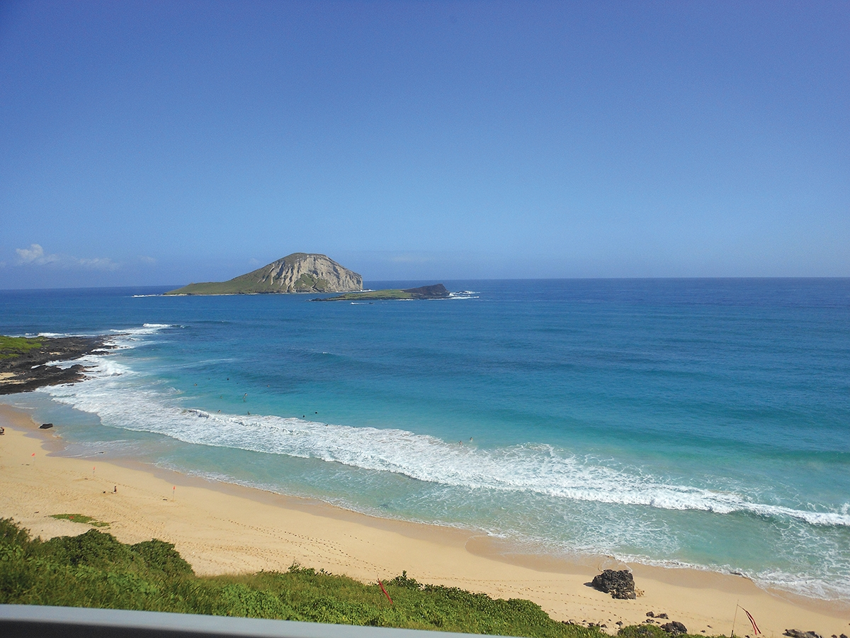 <b></b> A view of Rabbit Island from the Makapuu Lookout on Oahu.