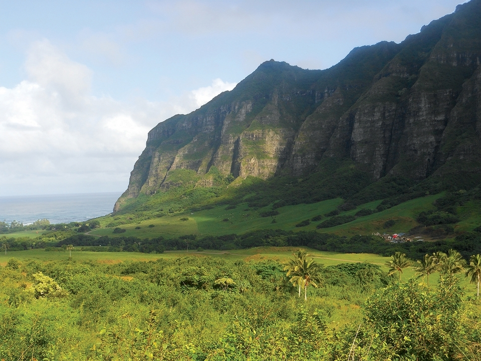 The valley at Kualoa Ranch has been used for several movie shoots; a set for