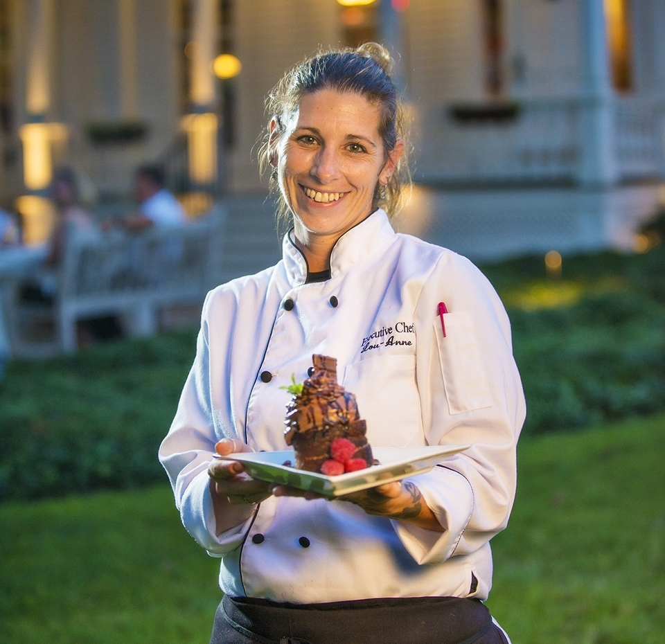 Chef Lou-Anne Langlois serves up Death by Chocolate Cake. (Seth Jacobson photo)