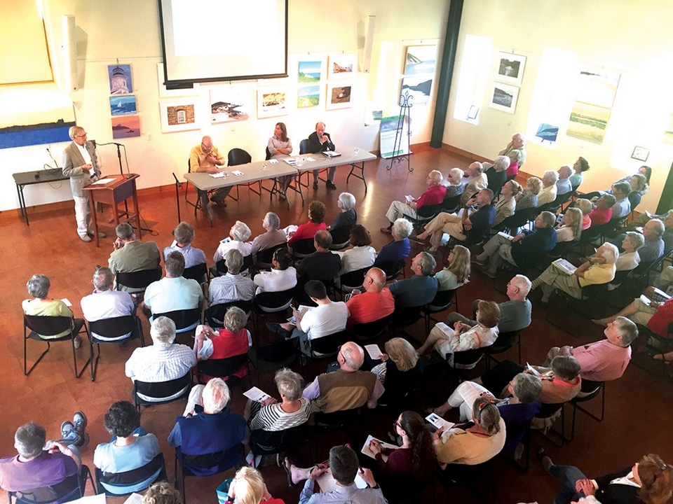 Community members gather for a discussion on the future of Stonington Borough late this summer. (Submitted photo)