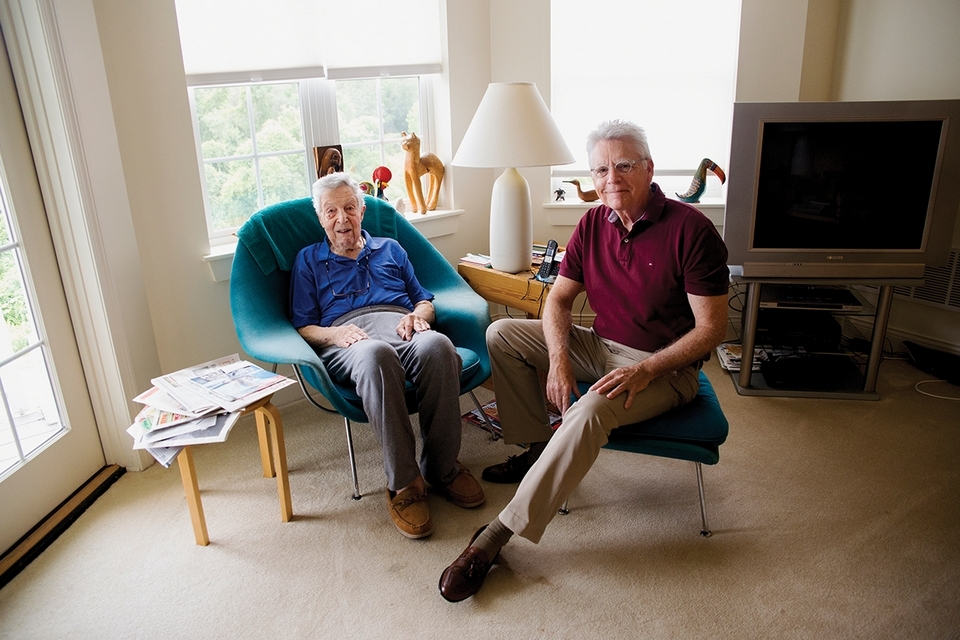 Charles Kroll, left, spends time with companion Peter Rogan on a recent morning. (Emilie Farrugia photo)