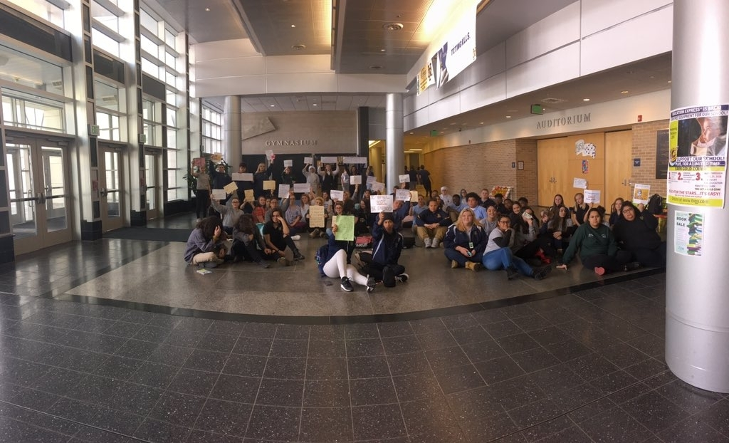<b></b> Students at Norwich Technical High School sat in the school's lobby for two hours Thursday, March 15, 2018, in response to the temporary suspension of six of their classmates who were punished for participating in a 17-minute walkout from school Wednesday, March 14, 2018, as part of a nationwide, student-led protest against gun violence. (Courtesy of&#xa0;Daisey&#xa0;Palmisano)