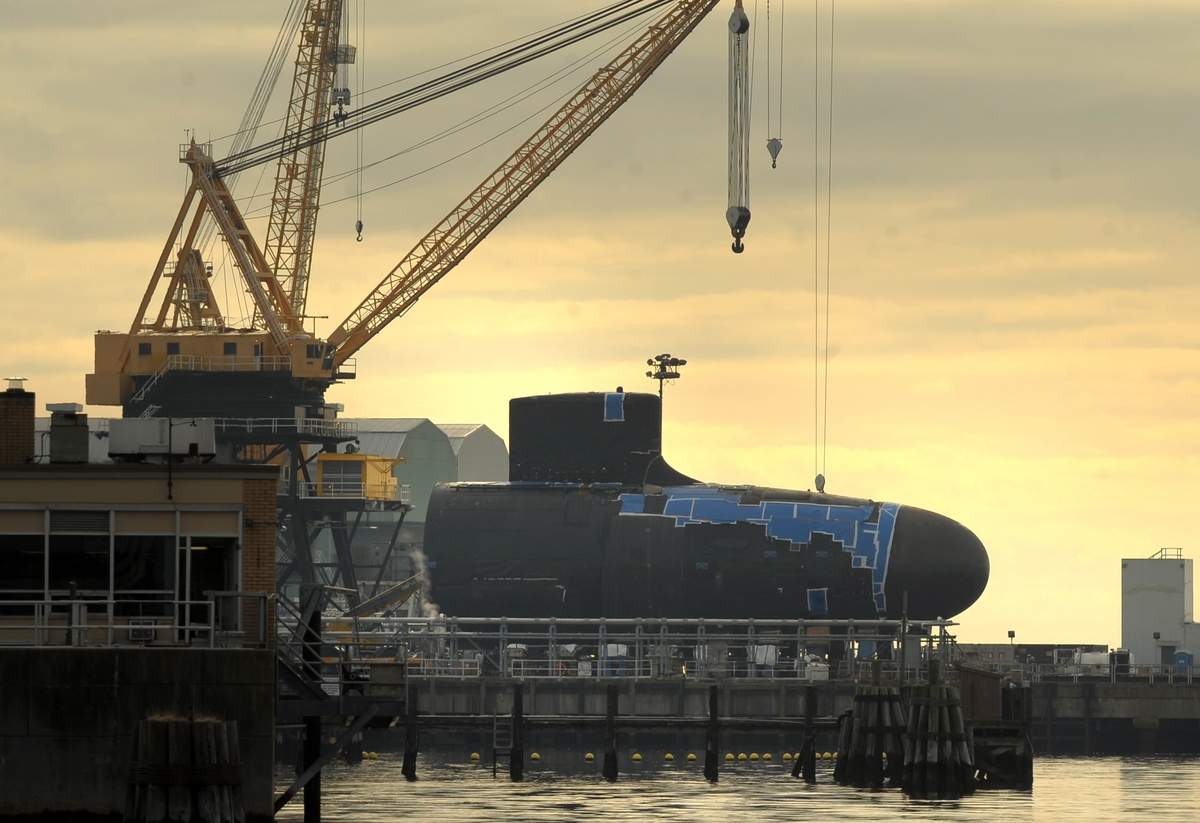 <b></b> The forward hull section of a new Virginia-class, fast-attack submarine sits on the waterfront at General Dynamics Electric Boat on Dec. 7, 2012, after its arrival.  (Tim Cook/The Day)