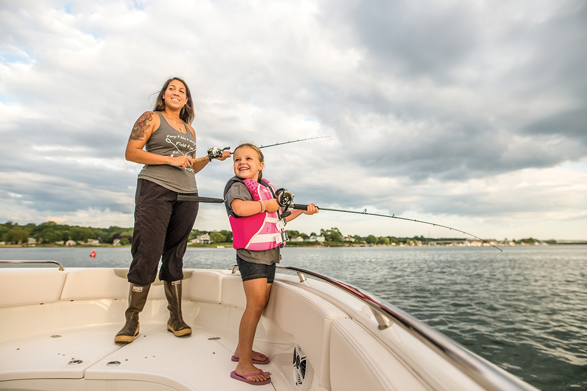 <b></b> Stephanie Ortiz founded a Fancy Fluke, a women-run fishing tackle company that utilizes all-American components. Here, she fishes with Sydney Norris. At age 5, Sydney is the youngest member of the Fancy Fluke pro staff, and is already making waves at tournaments across the state. She enjoys fishing for Fluke, Striped Bass, Black Sea Bass and more in the waters of Eastern Long Island Sound, Fishers Island Sound and Block Island Sound. (Seth Jacobson photo)