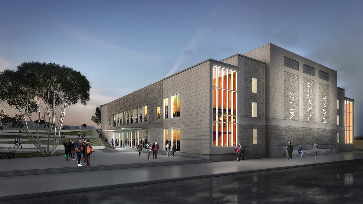 <b></b> A $10 million grant from the Sherman Fairchild Foundation and a $10 million gift from Nancy Marshall Athey, Class of 1972, and Preston Athey will support the renovation of Connecticut College's Palmer Auditorium and Castle Court. (Artist's rendering courtesy of Connecticut College)