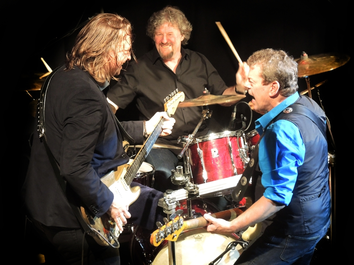 <b></b> Band of Friends, from left, Marcel Scherpenzeel, Ted McKenna and Gerry McAvoy (Contributed)