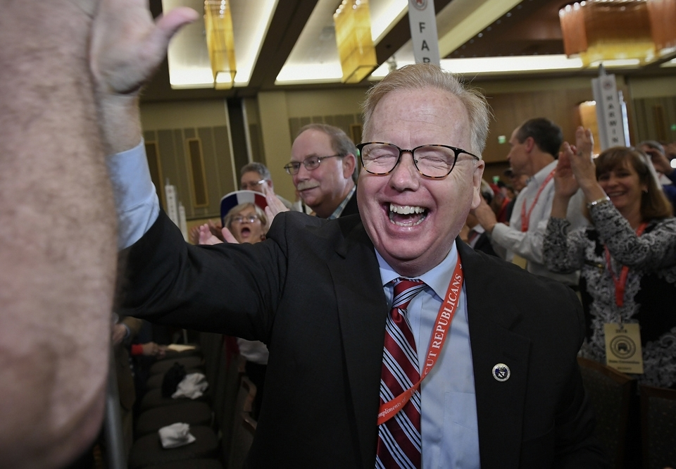 Danbury Mayor Mark Boughton reacts after he is nominated party's candidate for governor at the State Republican Convention, Saturday, May 12, 2018, in Mashantucket, Conn. Connecticut Republicans are gathering for a second consecutive day to finish endorsing their slate of candidates for the November elections, including the hotly contested race for governor. (AP Photo/Jessica Hill)