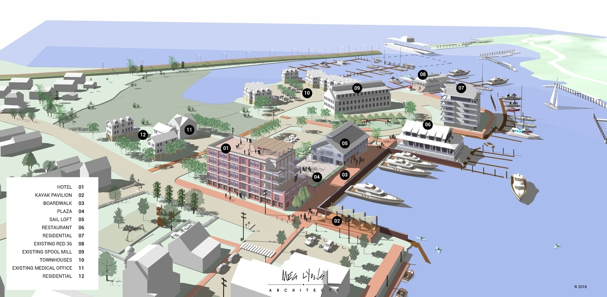 <b></b> An architectural rendering of the Seaport Marine redevelopment on Washington Street in Mystic calls for a second restaurant, a 40-room boutique hotel, commercial space, apartments, townhouses and single-family homes, as well as a public-access boardwalk and new boat basin. (Courtesy of Seaport Marine)