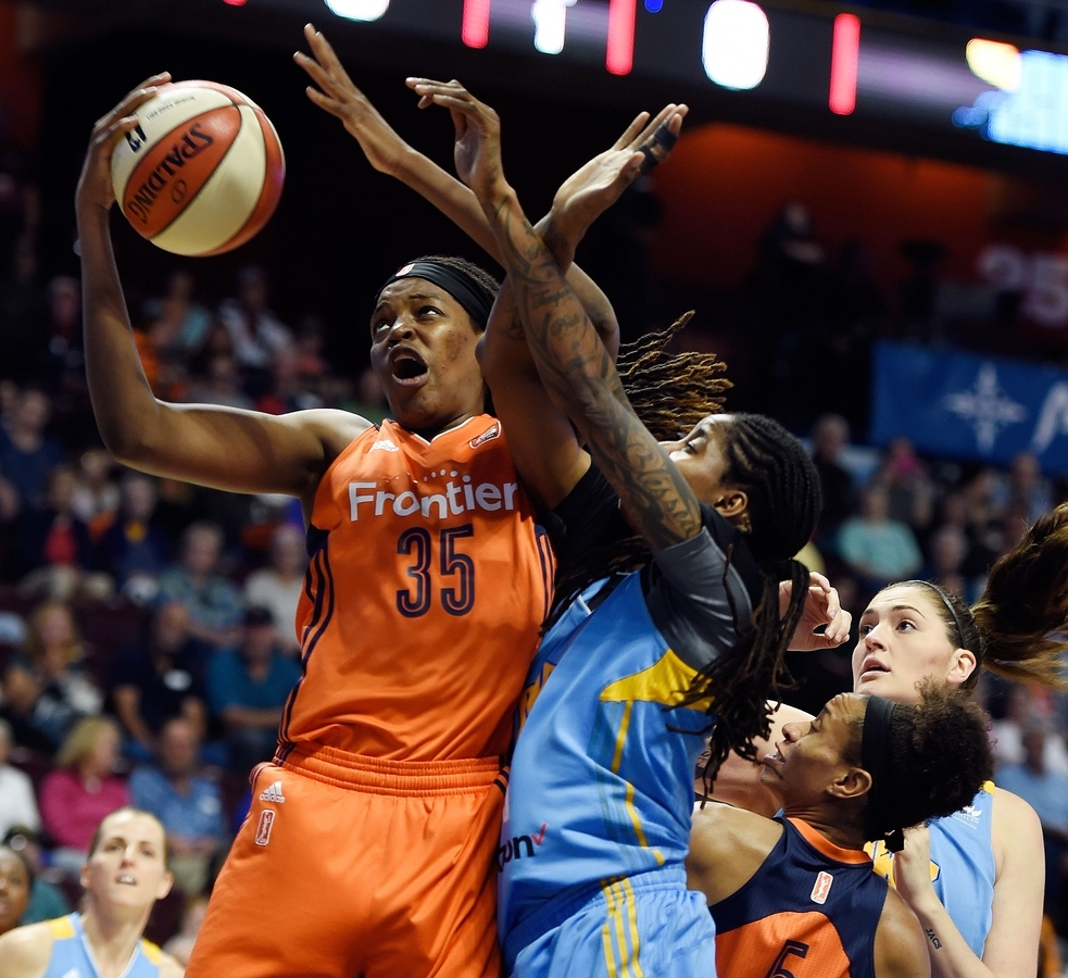 <b></b> Sun center Jonquel Jones (35) finally arrived in Connecticut on Thursday night and will be good to go when the Sun open their 2018 WNBA season at home on Sunday against the Las Vegas Aces at Mohegan Sun Arena. (Sean D. Elliot/The Day)