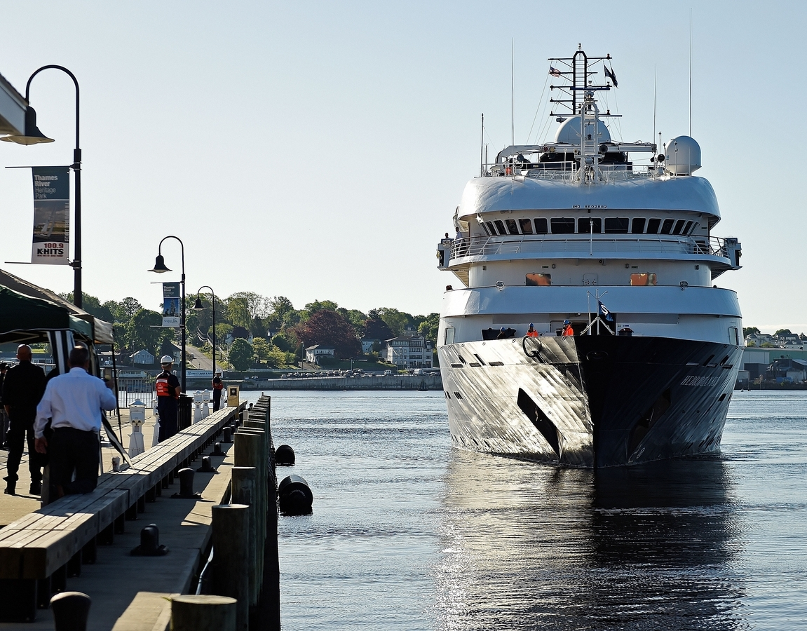<b></b> The Noble Caledonia lines cruise ship MS Hebridean Sky arrives at City Pier in New London Monday, May 21, 2018 for a short stopover on a cruice from NYC to Nova Scotia. Passengers will disembark for a day-trip to Essex. . (Sean D. Elliot/The Day)