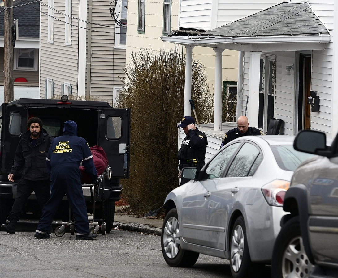 <b></b> Police and medical examiners respond to a suspected overdose involving Zachary Ramsdell, 30, at 47 Prest St. on April 10, 2018, in New London. Plagued by problems after Ramsdell's death, the Friendship Home sober living operation at 42 and 47 Prest St. faces possible closure. (Sarah Gordon/The Day)
