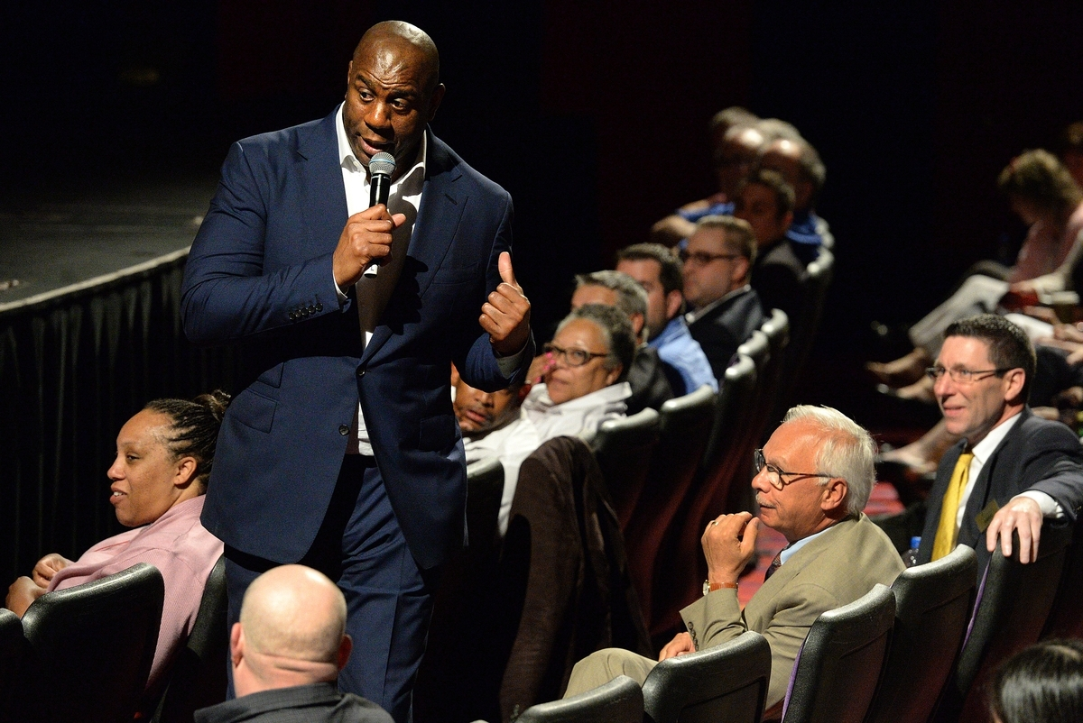 <b></b> Former National Basketball Association star Earvin &#x201c;Magic&#x201d; Johnson, now chairman and CEO of investment conglomerate Magic Johnson Enterprises, stands in the audience as he gives a motivational talk to Foxwoods employees and invited guests in the Fox Theater at Foxwoods on Tuesday, June 19, 2018.  (Dana Jensen/The Day)