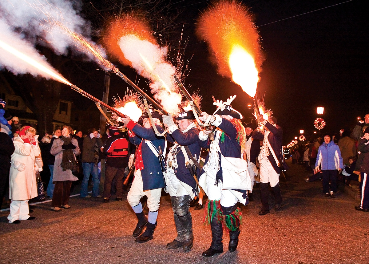 The Torchlight Parade features 20 fife and drum corps in period dress each December.