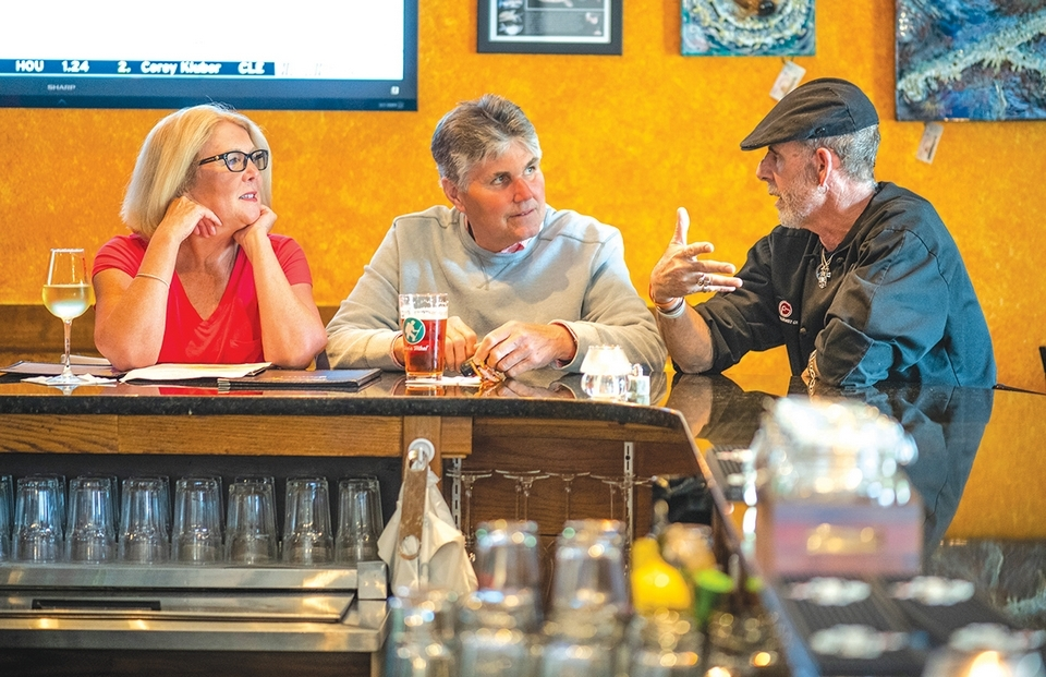 Frank Grace, owner of Frank's Gourmet Grille in Mystic, catches up with longtime customers.
