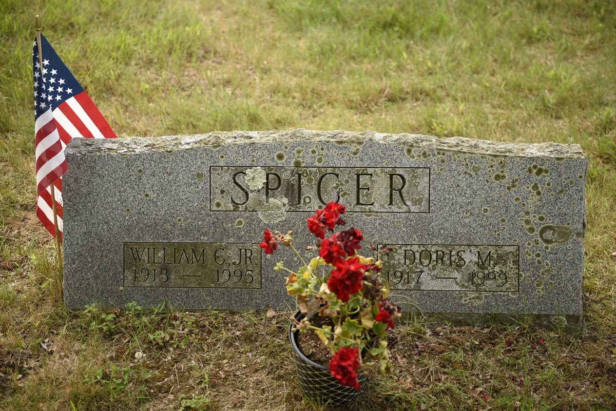 <b></b> The headstone of William and Doris Spicer in the Old Starr Burying Ground in Groton. (Peter Huoppi/The Day)