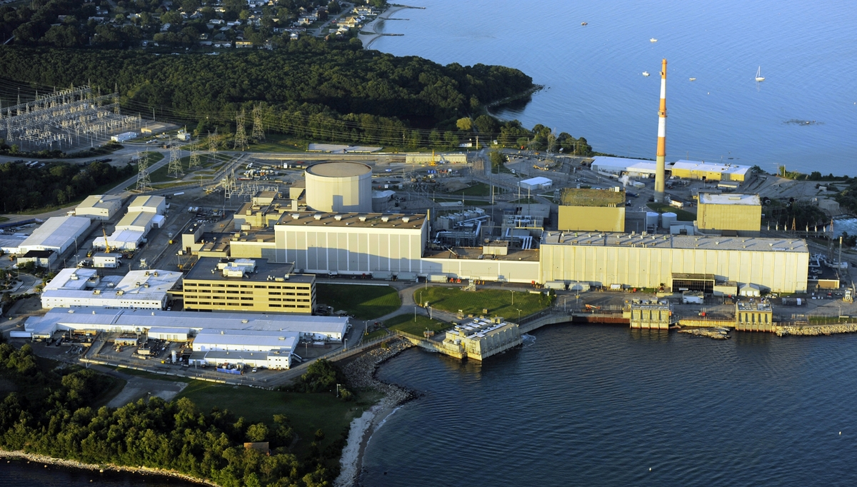 <b></b> Dominion's Millstone Nuclear Power Station is seen from the air July 9, 2011, in Waterford.  (Sean D. Elliot/The Day)