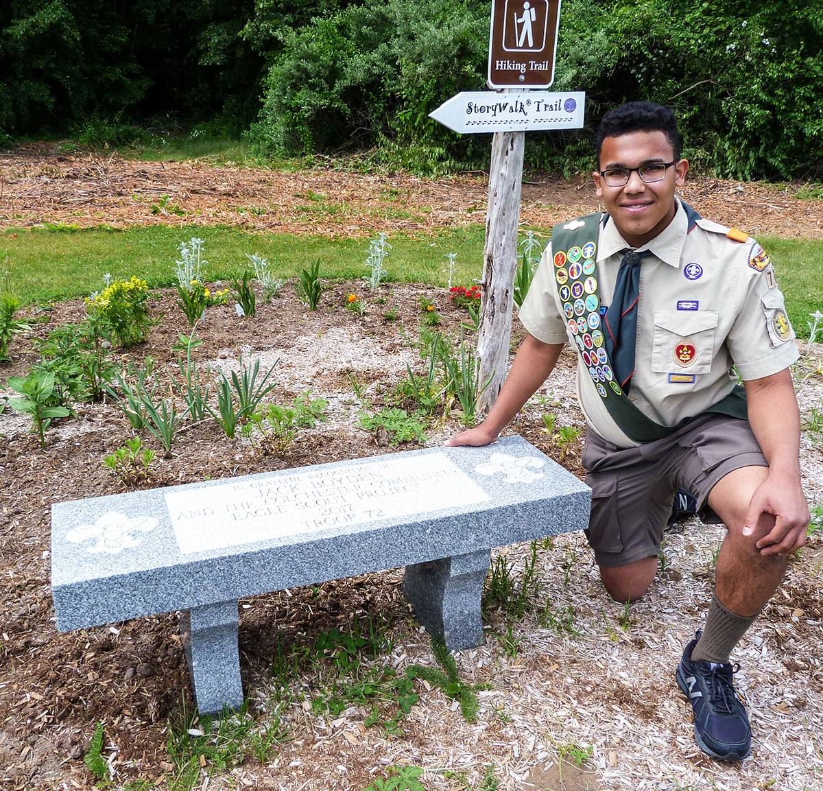 <b></b> Jack Boyden's Eagle Scout project involved the installation of a StoryWalk project at the Ruby and Elizabeth Cohen Woodlands in Colchester. (Photos by Toni Leland)
